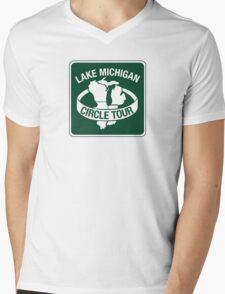 Lake Michigan Circle Tour, Sign, Wisconsin Mens V-Neck T-Shirt