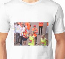 Jenson Button proudly holds his medal at the finish line of the Virgin money London Marathon Unisex T-Shirt