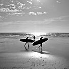 """Board at the beach, St Ouen's Bay, Jersey"" by Bradley Shawn  Rabon"