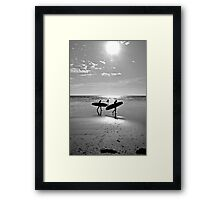 """Board at the beach, St Ouen's Bay, Jersey"" Framed Print"