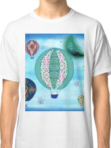 Blue Hot Air Balloons with Birds Classic T-Shirt