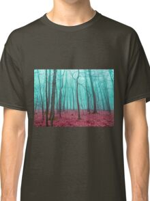 Mystical forest in red and turquoise Classic T-Shirt