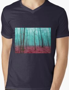 Mystical forest in red and turquoise Mens V-Neck T-Shirt