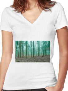 Mystical Forest in the fog in Green Women's Fitted V-Neck T-Shirt