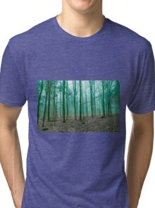 Mystical Forest in the fog in Green Tri-blend T-Shirt