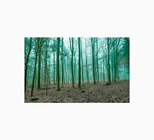 Mystical Forest in the fog in Green Unisex T-Shirt