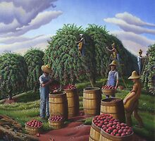 Autumn Apple Harvest, Farmers Picking Apples Farm Landscape  by Walt Curlee