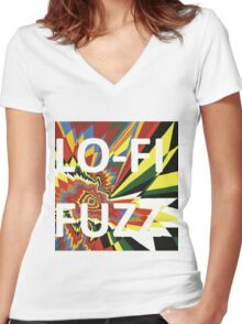 Lo-fi Fuzz Flash Women's Fitted V-Neck T-Shirt