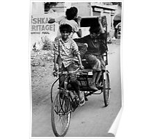 Boys playing on rickshaw  Poster
