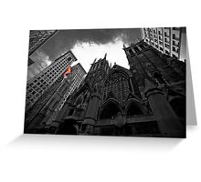 First Presbyterian Church: Black White Version with USA Color Flag Greeting Card