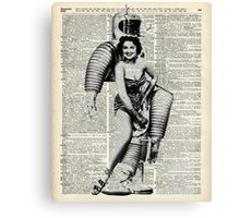 Vintage Girl in robot costume  Dictionary Art Canvas Print