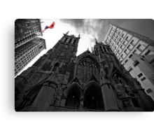 First Presbyterian Church, Front View: Black White Version with USA Color Flag Canvas Print