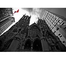 First Presbyterian Church, Front View: Black White Version with USA Color Flag Photographic Print