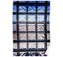 Blue toned glass brick window abstract  Poster