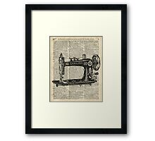 Vintage Sewing machine Dictionary Book Page Framed Print