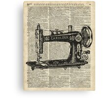 Vintage Sewing machine Dictionary Book Page Canvas Print