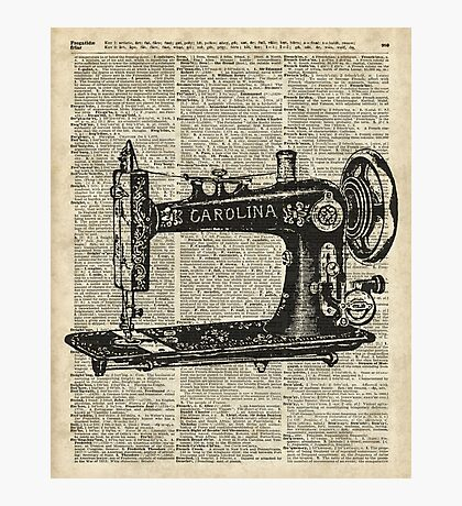 Vintage Sewing machine Dictionary Book Page Photographic Print