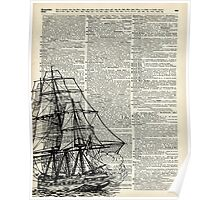 Galleon Ship over Dictionary Page Poster
