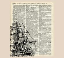 Galleon Ship over Dictionary Page Unisex T-Shirt