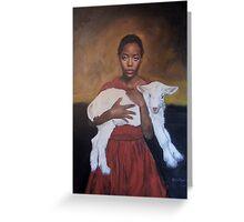 Girl with Lamb Greeting Card