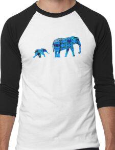 Inkblot Elephants Men's Baseball ¾ T-Shirt
