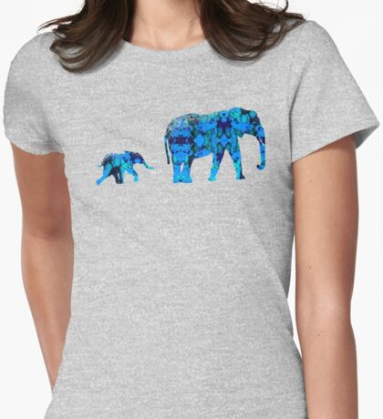 Inkblot Elephants Womens Fitted T-Shirt