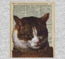 Sneaky cat Vintage collage Dictionary Art One Piece - Short Sleeve