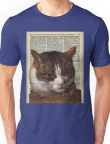 Sneaky cat Vintage collage Dictionary Art Unisex T-Shirt