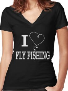 I LOVE FISHING Women's Fitted V-Neck T-Shirt
