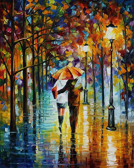 Under the red Umbrella - Leonid Afremov by Leonid  Afremov