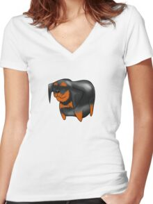 Cute Rottweiler Design   Women's Fitted V-Neck T-Shirt