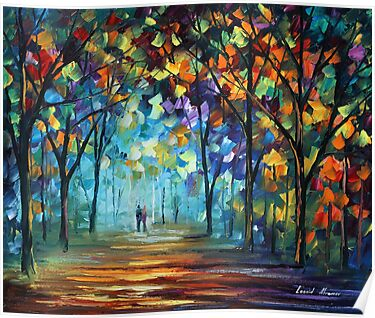 Couple in the fog - Leonid Afremov by Leonid  Afremov