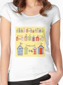 lots of beach huts Women's Fitted Scoop T-Shirt