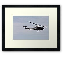 Helicopter Hovering Over The River 2 Framed Print