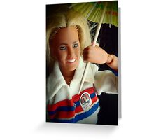 the Bionic Woman with her paper umbrella Greeting Card
