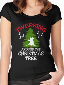 TWERKING AROUND THE CHRISTMAS TREE Women's Fitted Scoop T-Shirt