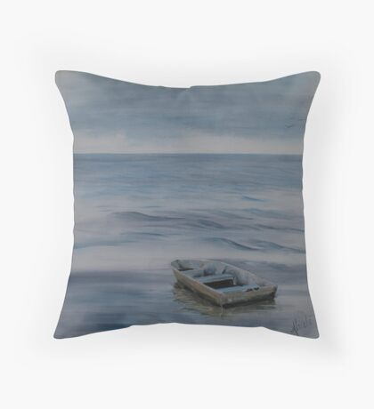 Alone and Blue - lone rowboat on the river Throw Pillow