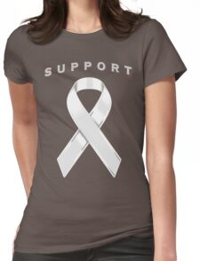 White/Pearl Awareness Ribbon of Support Womens Fitted T-Shirt