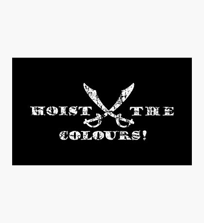 Hoist the Colours Pirate Sabers Vintage White Photographic Print