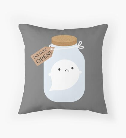 Trapped Little Ghost Throw Pillow