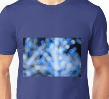 Blue white sparkles and circles bokeh abstract  Unisex T-Shirt