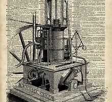 Steampunk machine Vintage Dictionary Art by DictionaryArt