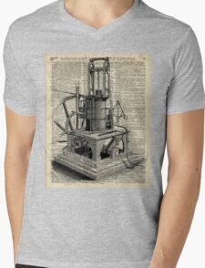 Steampunk machine Vintage Dictionary Art Mens V-Neck T-Shirt