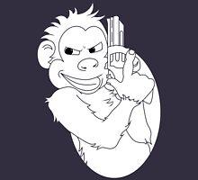 Monkey With Handgun - Black & White Unisex T-Shirt