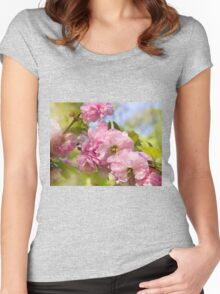 Almond blossoms pink flowering Women's Fitted Scoop T-Shirt