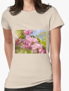 Almond blossoms pink flowering Womens Fitted T-Shirt