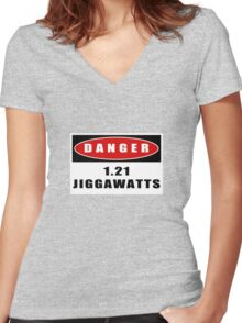 WARNING: 1.21 Jiggawatts! Women's Fitted V-Neck T-Shirt