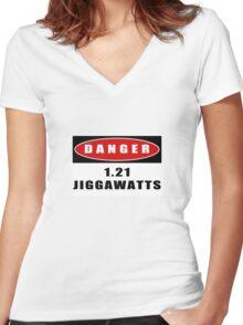 WARNING: 1.21 Jiggawatts! Women's Fitted V-Neck T-Shirt
