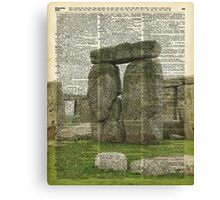 Stonehenge Magic Place Vintage Collage Dictionary Art Canvas Print