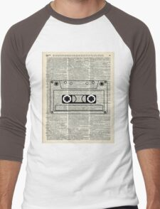 Retro Vintage Music Casette - Dictionary Book Page Art Men's Baseball ¾ T-Shirt